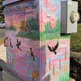 Utility box mural, corner of Main St. and Fellsway West. City of Melrose Wayfinding & Creative Placemaking Initiative 2020. (front and right side)