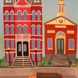 Side wall of Main St. mural: City Hall and Old Post Office