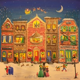 My acrylic painting illustration for the cover of Harbor Sweets' 2018 Advent Calendar box of delicious chocolate treats. Harbor Sweets gourmet handmade chocolates, Salem, MA