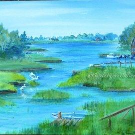 """Stubb's Landing, acrylic, 16"""" x 20"""" (Essex, MA)"""