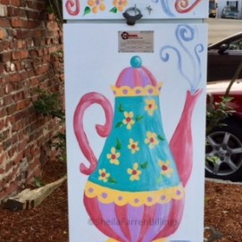 Outside the Box Project, Mrs. Felton's Tea Party electric box, Main St., Peabody, MA