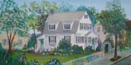 "Mama's House, acrylic, 6"" x 12"" (Malden, MA)"