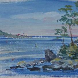 """Eastern Light, watercolor, 8"""" x 10"""" (view from Stage Fort Park, Gloucester, MA)"""