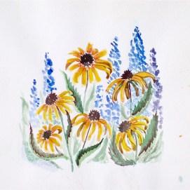 "Daisies & Delphinium, watercolor, 8"" x 8"""