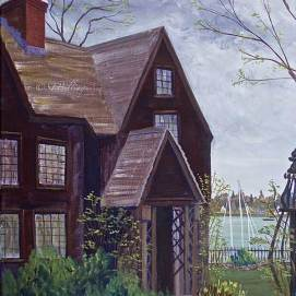 "The House of the Seven Gables April, acrylic, 16"" x 20"" (Salem, MA)"