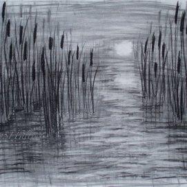 """Moody Marsh, charcoal, 18"""" x 24"""""""