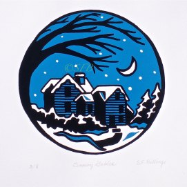 "Snowy Gables, original screen print -- 8 pulled, 11"" x 14"" (The House of the Seven Gables, Salem, MA)"