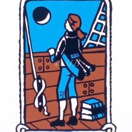 "Young Dreamer, original screen print, 11"" x 14"" (Nathaniel Bowditch)"