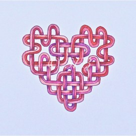 "Pink Celtic Heart, ink & pencil, 5"" x 7"""