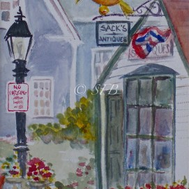 """Sacks Appeal, watercolor, 8"""" x 10"""" (Old Town, Marblehead, MA)"""