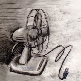 "Electric Fan, charcoal, 16"" x 20"""
