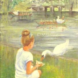 """Feeding the Swan, acrylic, 5"""" x 7"""" (Public Garden, Boston, MA)"""