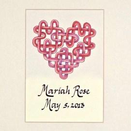 "Custom Pink Heart, ink & pencil, 8"" x 10"""