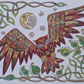 "Celtic Owl, ink & pencil, 8"" x 10"""