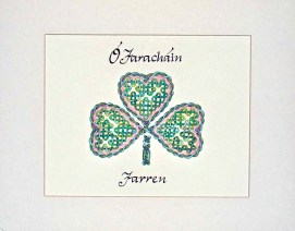 "Your Name in Irish Gaelic!, Custom Rose Shamrock, ink & pencil, 8"" x 10"""