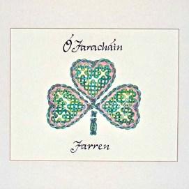 "Your Name in Irish Gaelic!, Custom Rose Shamrock, ink & pencil, 8"" x 10"""