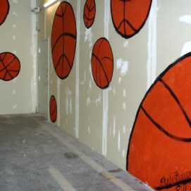 Basketball mural for pop-up fundraiser for Boys and Girls Club of Greater Salem, MA 2016