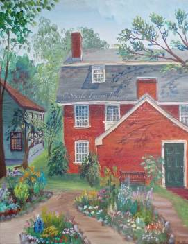 "Derby Garden, acrylic, 16"" x 20"" (Salem, MA --- home of the first American millionaire)"