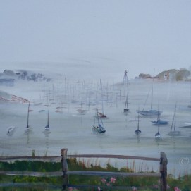 "Misty Morning, acrylic, 12"" x 24"" (Marblehead Harbor, MA)"