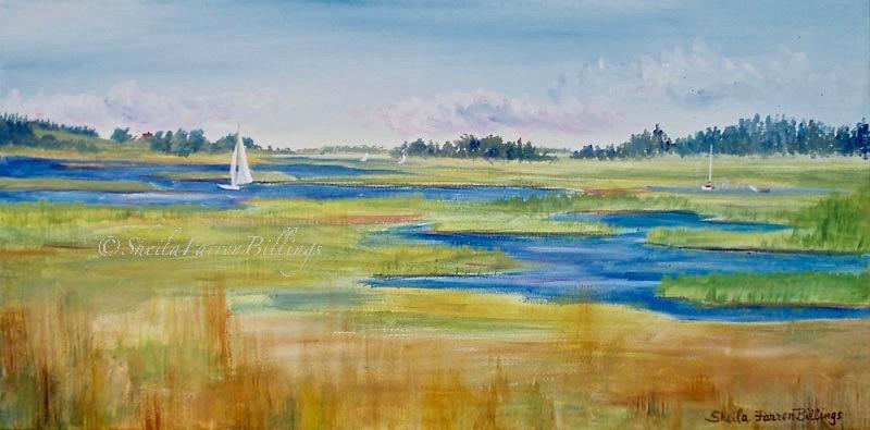 "Essex Marsh August, acrylic, 12"" x 24"" (Essex, MA)"
