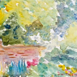 "Glen Magna Garden Wall, watercolor, 4"" x 6"" (Glen Magna Estate, Danvers, MA)"