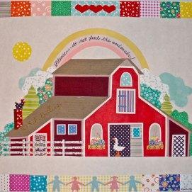 "Children's Barn, cut paper, 18"" x 24"""