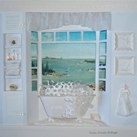 """Relax!, mixed media, 14"""" x 14"""" (view of Salem Harbor, MA)"""
