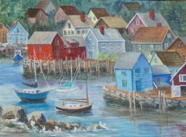 "Rockport Harbor, acrylic, 18"" x 24"" (Rockport, MA)"
