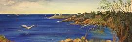 "Rockport Panorama, acrylic, 12"" x 36"" (Rockport, MA)"