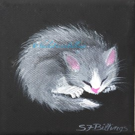 "Napping Gray Kitten, acrylic, 4"" x 4"""
