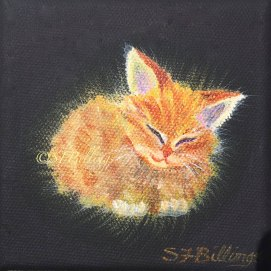 "Dreaming Orange Kitten, acrylic, 4"" x 4"""