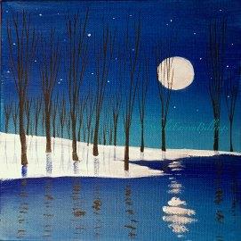 "Winter Moon, acrylic, 8"" x 8"""