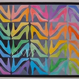 "Rainbow Stilettos, acrylic, 30"" x 40"""