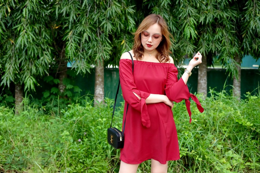 shein maroon dress