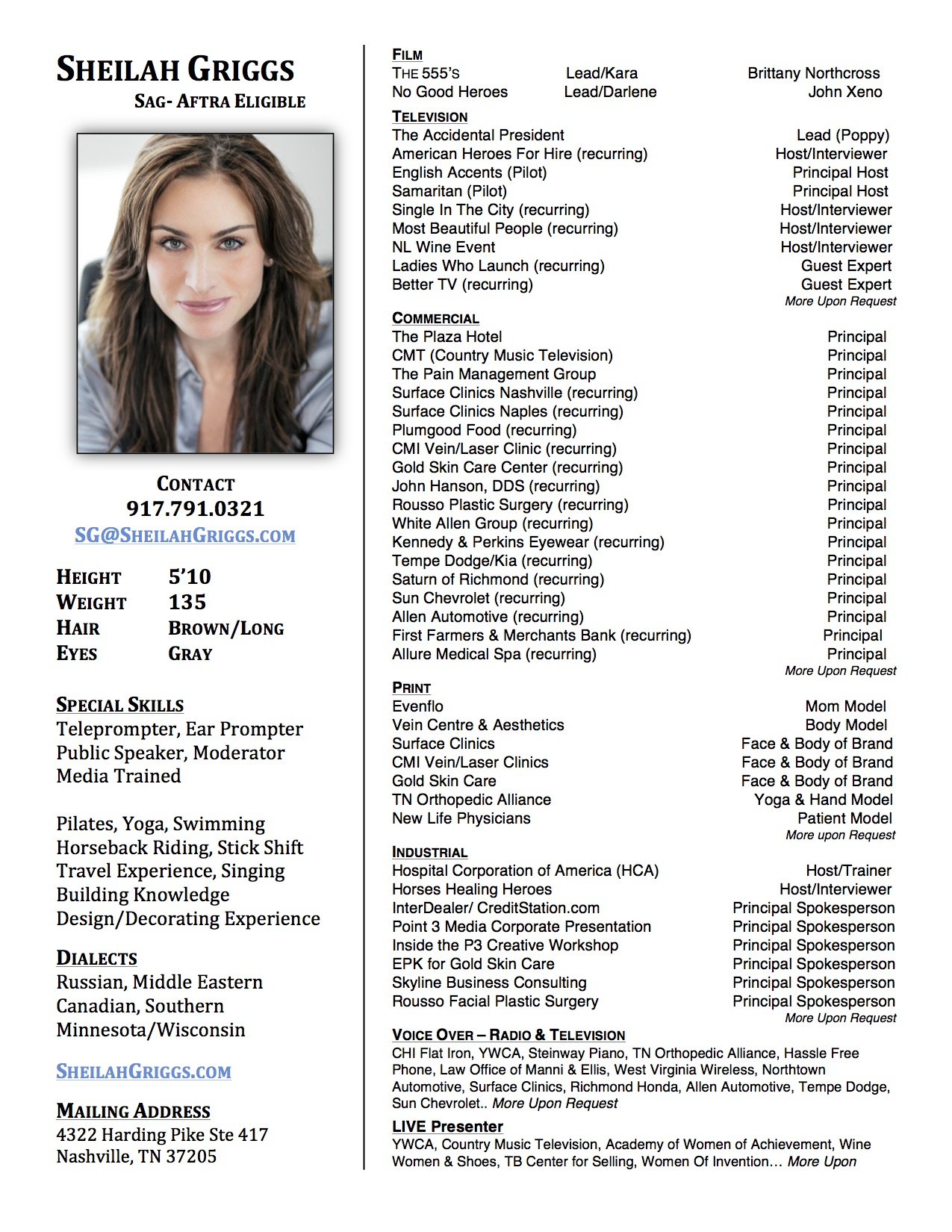 Talent Resume Sheilah Griggs