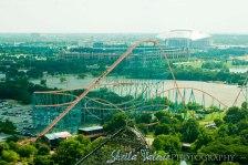AT&T Stadium (Cowboys Stadium), Globe Life Park (Rangers Ballpark) and the Titan. Taken from Oil Derrick Tower