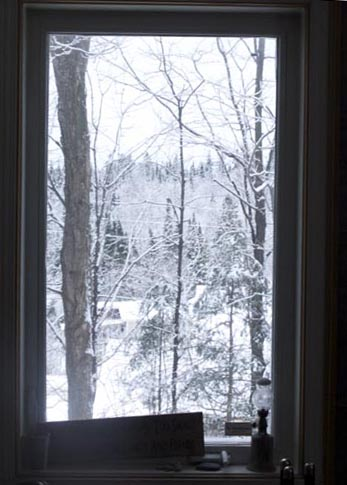 image of window showing snow outside