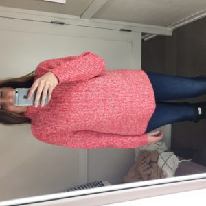 mock neck red marled sweater