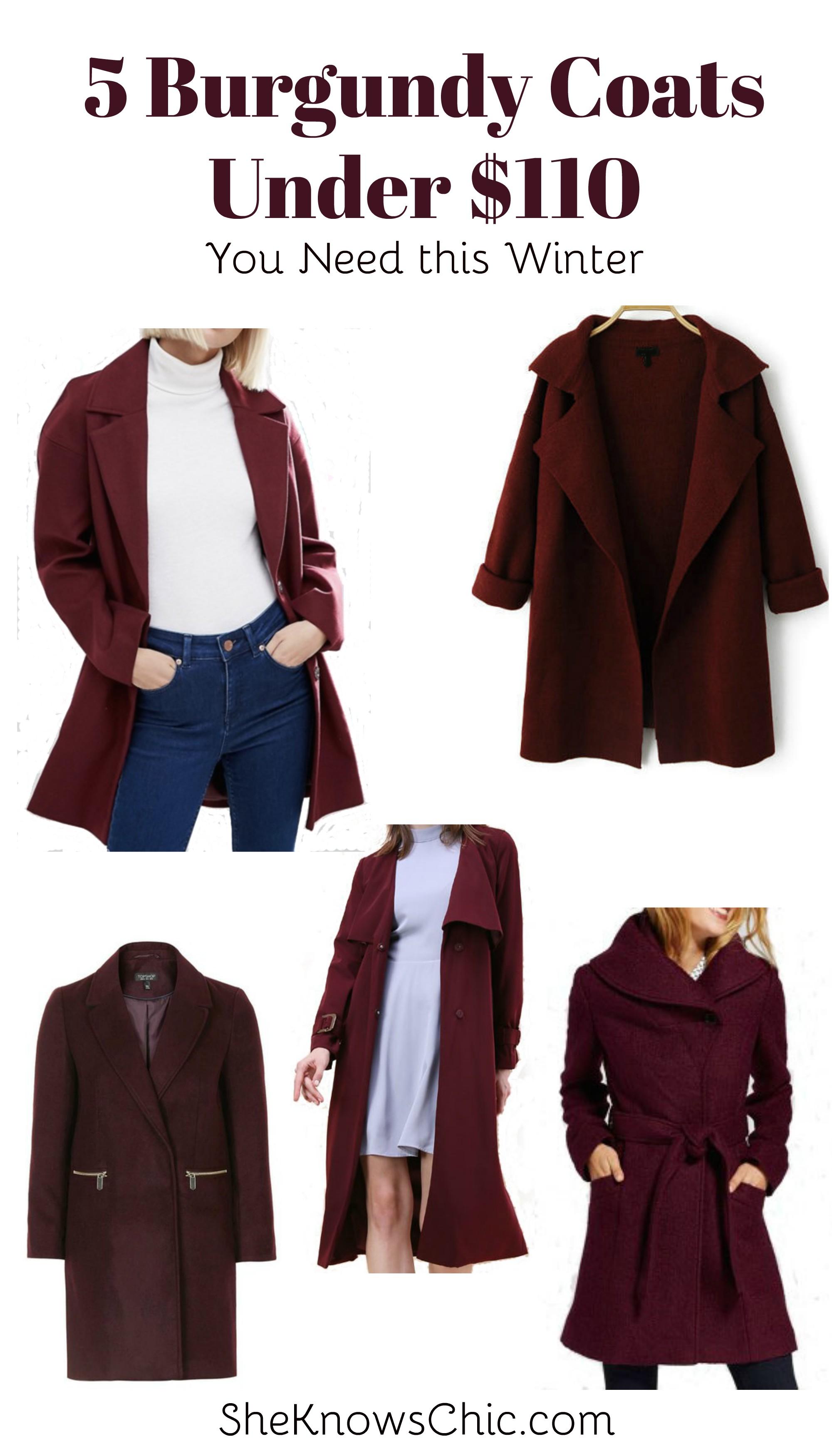 5 Burgundy Coats Under $110