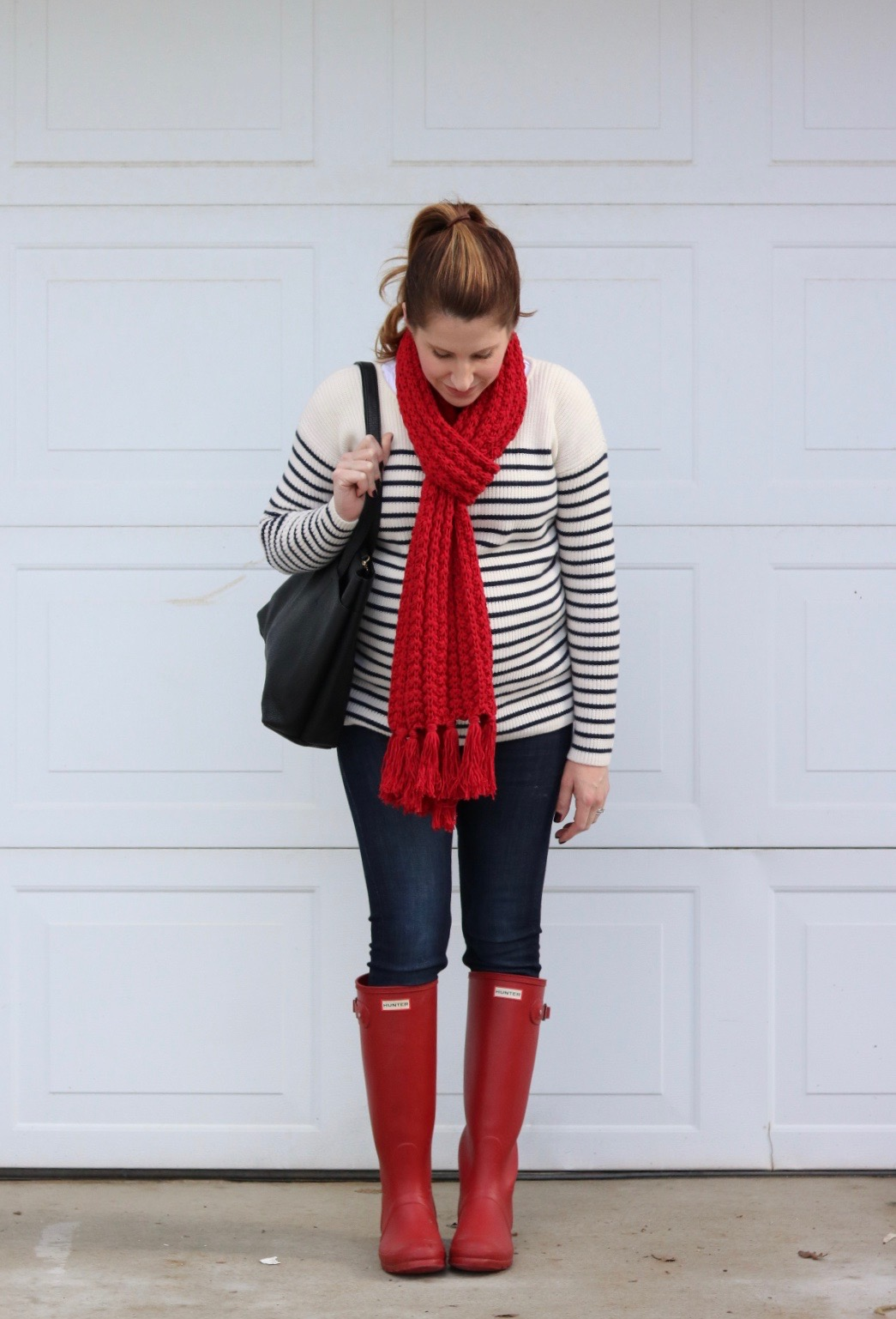 red rain boots, navy stripes