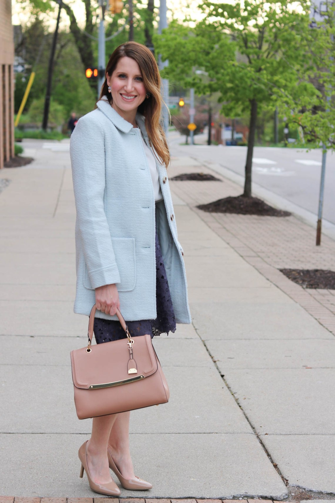 spring outfit, blue coat