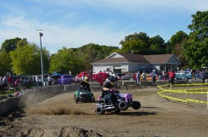 Lawn tractor races included Stock, Super Stock and Super Modified tractors. Pictured here is the Super Modified Lawn Tractors which was won by Cody Jamison.