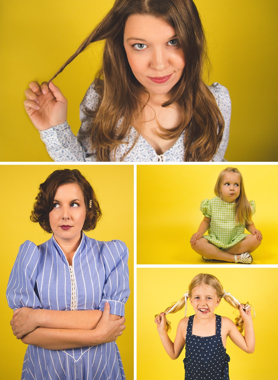 collage of girls in studio with lemonade yellow backdrop