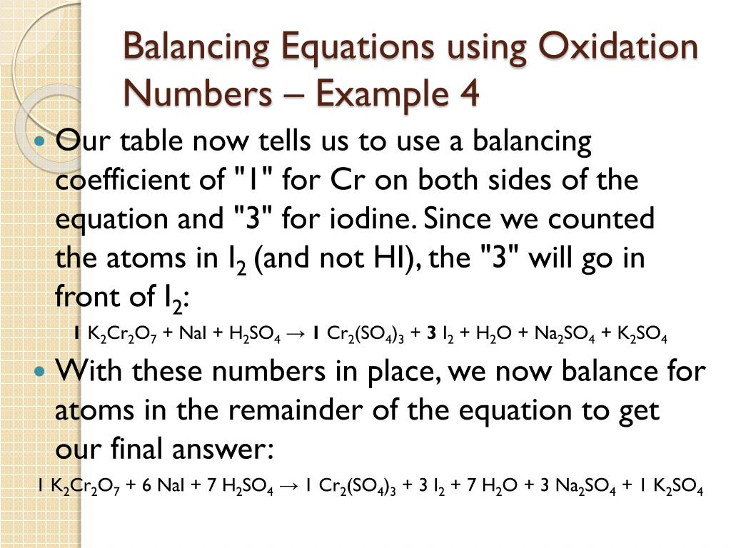 Balancing Redox Reactions Oxidation Number Method Example