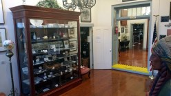 The front lobby, known as the Seales Room, contains a large display cabinet with military artifacts such as Civil War bullets, a Revolutionary War sword, bayonets and a pair of WWI German military binoculars, plus much more.