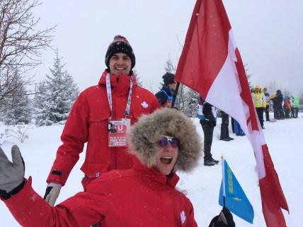Jordan and Kyla cheering on Canada (team sprint relay)