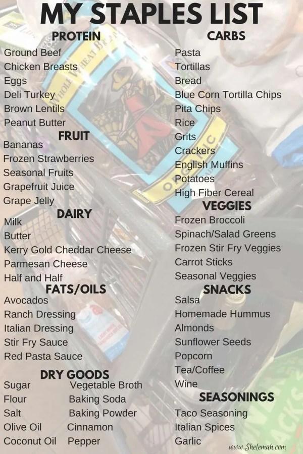 My grocery staples list