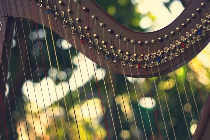 Harp like David played for Saul against a woodland background. 444hz tuning