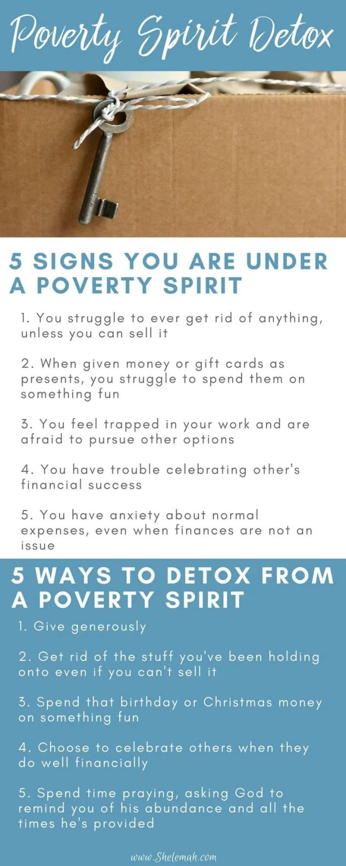 Call it being frugal if you want, but living with boxes of stuff you want to get rid of but feel guilty to purge without selling is really just a poverty spirit. Learn how to detox from a poverty spirit and begin to live in freedom and abundance. #springcleaning #tidyingup