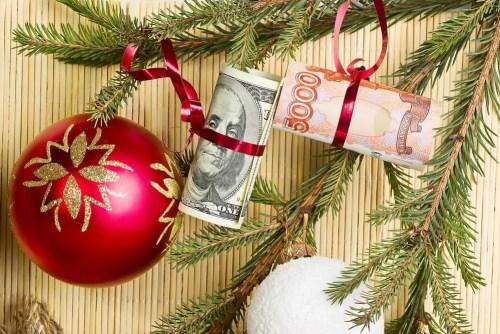 Christmas decoration: Money on spruce branch